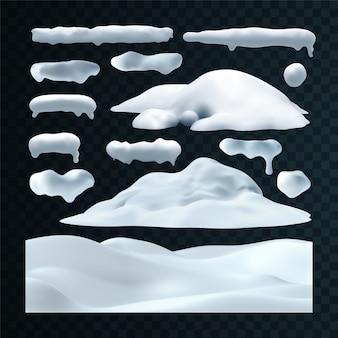 Conjunto de vetores de bonés de neve, pingentes, bolas de neve e monte de neve isolado em fundo transparente.