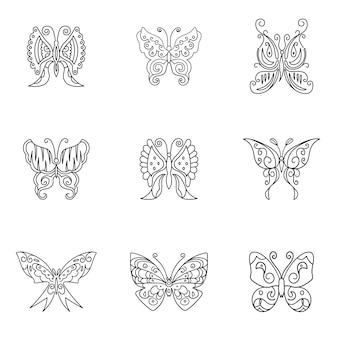 Conjunto de vetores de borboleta. ilustração em forma de borboleta simples, elementos editáveis, podem ser usados no design de logotipo