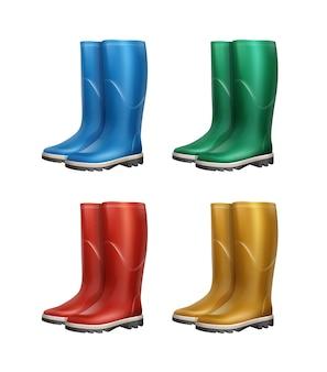 Conjunto de vetores de botas de borracha azuis, vermelhas, verdes e amarelas, isolado no fundo branco