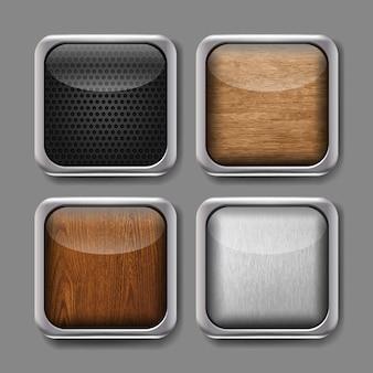 Conjunto de vetores de botões do aplicativo. ícones com armação de metal moderna e acabamento em madeira, metálico, carbono.