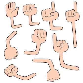 Conjunto de vetores de braço dos desenhos animados