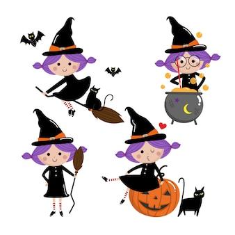 Conjunto de vetores de bruxa cute