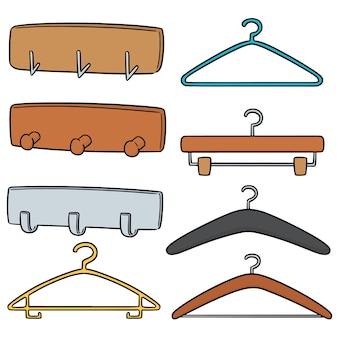Conjunto de vetores de cabide de parede e cabide