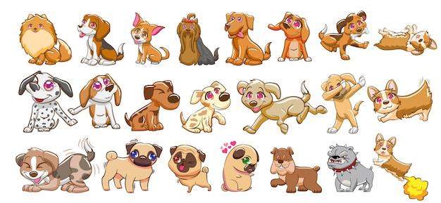 Conjunto de vetores de cachorro clipart