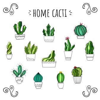 Conjunto de vetores de cactos em casa. estilo desenhado à mão. adesivos bonitos