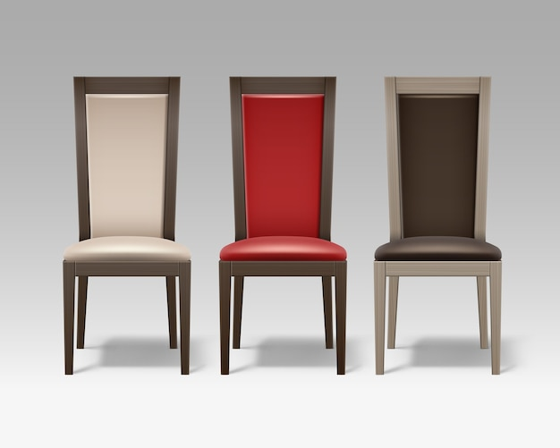 Conjunto de vetores de cadeiras de madeira marrons com estofamento bege suave e vermelho isolado no fundo