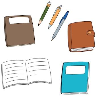 Conjunto de vetores de caderno, caneta e lápis