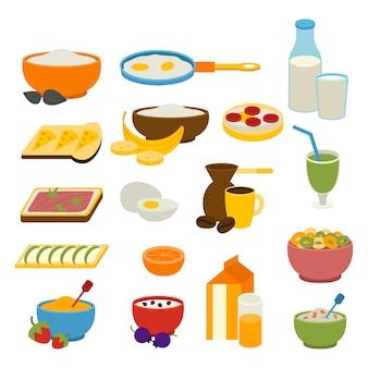 Conjunto de vetores de café da manhã saudável.