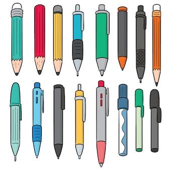 Conjunto de vetores de caneta e lápis