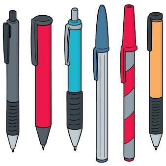 Conjunto de vetores de caneta e lapiseira