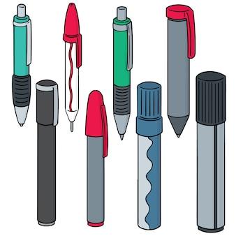 Conjunto de vetores de canetas