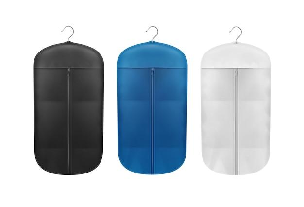 Conjunto de vetores de capas à prova de poeira para armazenamento em preto, azul e branco close-up vista frontal isolada no fundo