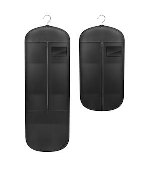 Conjunto de vetores de capas pretas à prova de poeira para armazenamento close-up vista frontal isolada no fundo branco