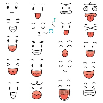 Conjunto de vetores de cara de desenho animado