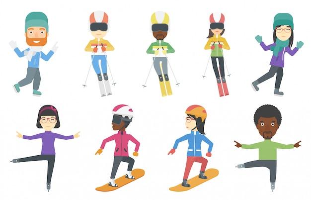 Conjunto de vetores de caracteres de esporte de inverno.