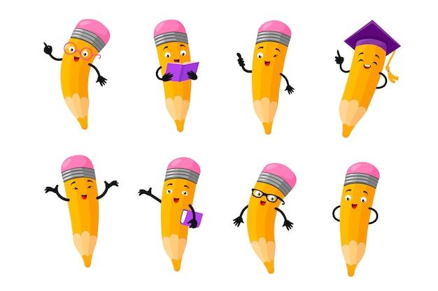 Conjunto de vetores de caracteres de lápis inteligente dos desenhos animados