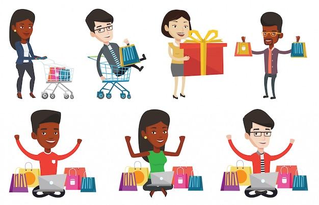 Conjunto de vetores de caracteres de pessoas compras.