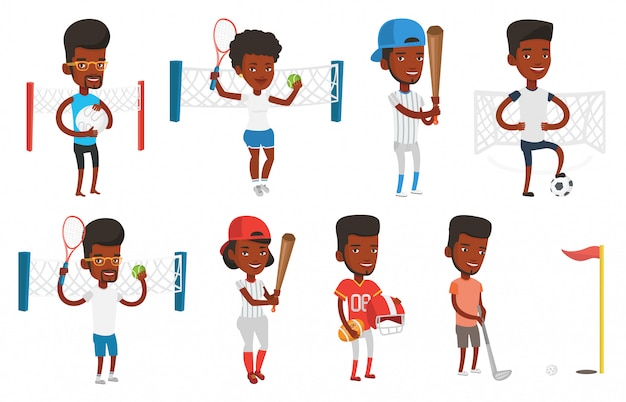 Conjunto de vetores de caracteres do esporte.