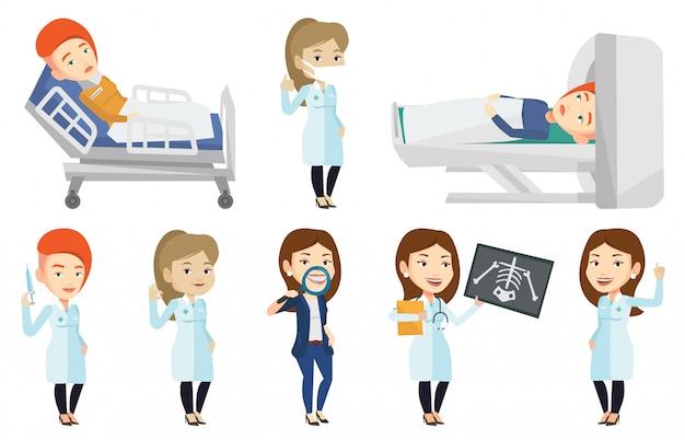 Conjunto de vetores de caracteres médico e pacientes.