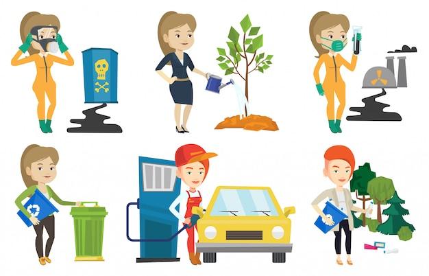 Conjunto de vetores de caracteres sobre questões de ecologia.