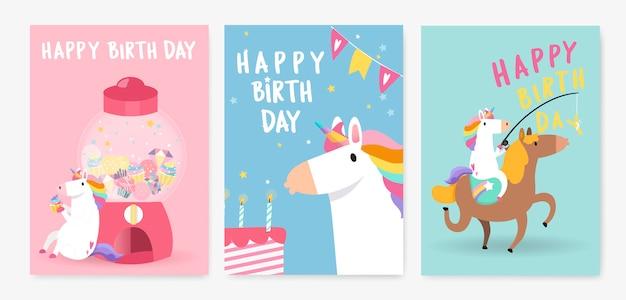 Conjunto de vetores de cartão de aniversário de unicórnio colorido