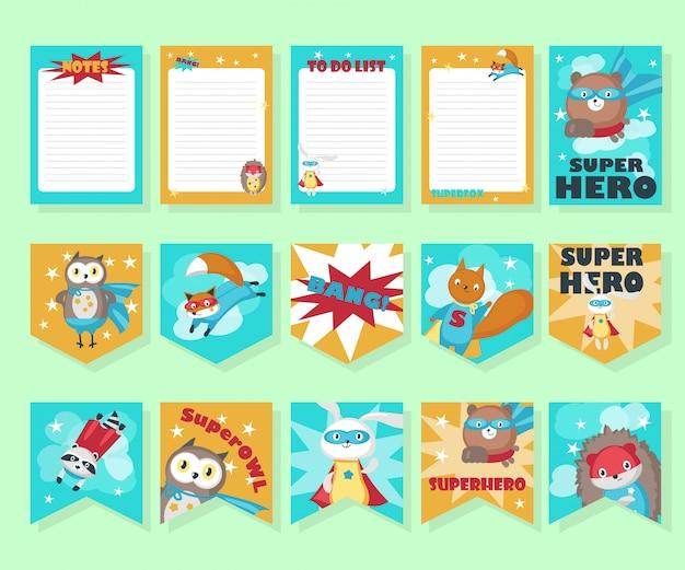 Conjunto de vetores de cartões com animais fofos super-herói