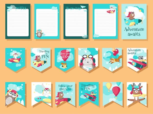 Conjunto de vetores de cartões com animais-piloto e citações de viagem