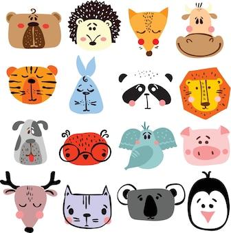 Conjunto de vetores de cartões com rostos de animais felizes fofos para interiores infantil, banners e cartazes.