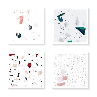Conjunto de vetores de cartões de padrão sem emenda colorido terrazzo