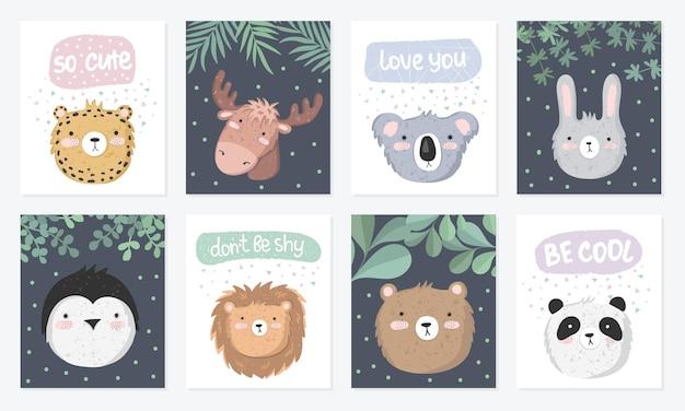 Conjunto de vetores de cartões postais fofos com animais engraçados pôster com objetos adoráveis no fundo