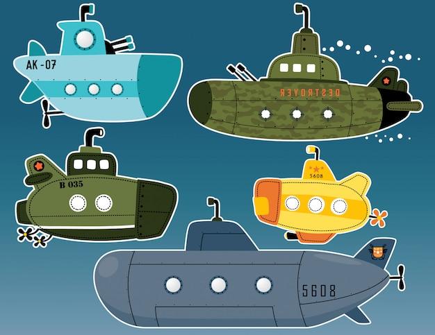 Conjunto de vetores de cartoon submarino