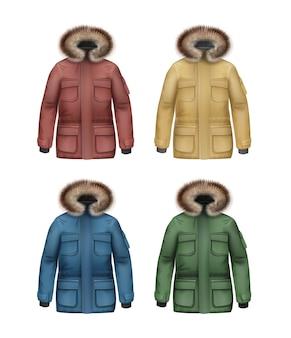 Conjunto de vetores de casacos esportivos de inverno marrom, amarelo, verde e azul com capuz de pele, vista frontal isolada no fundo branco