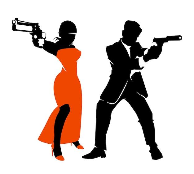 Conjunto de vetores de casal de espiões. ilustração de detetive homem e mulher, arma e revólver