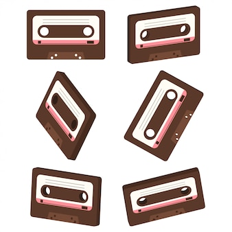 Conjunto de vetores de cassete de música retrô isolado