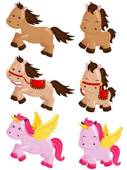Conjunto de vetores de cavalo e unicórnio