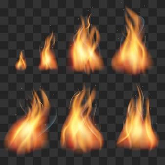 Conjunto de vetores de chamas de fogo realista sprites de animação