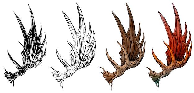 Conjunto de vetores de chifres ou galhadas de alce grande dos desenhos animados