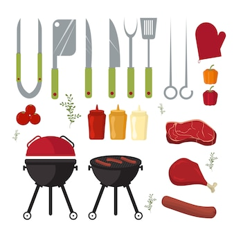 Conjunto de vetores de churrasco e grill ao ar livre, ferramentas de cozinha