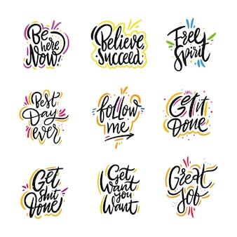 Conjunto de vetores de citações de motivação de letras