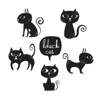 Conjunto de vetores de clip-art gato preto.