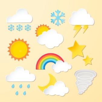 Conjunto de vetores de clipart de elementos meteorológicos, design 3d