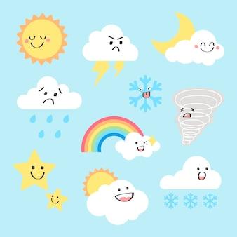 Conjunto de vetores de clipart de elementos meteorológicos, design plano
