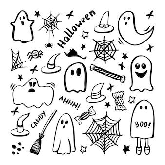 Conjunto de vetores de clipart de halloween. ilustração engraçada e bonita para design sazonal, têxteis, sala de jogos de crianças de decoração ou cartão de felicitações. impressões de mão desenhada e doodle.