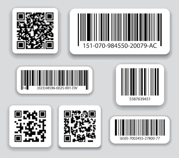 Conjunto de vetores de códigos de barras de negócios e códigos qr.