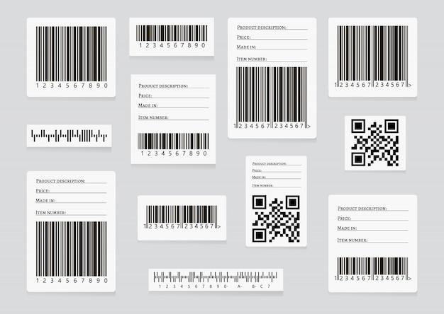Conjunto de vetores de códigos de barras de negócios e códigos qr