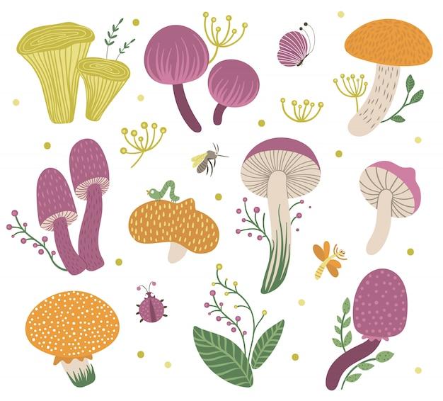 Conjunto de vetores de cogumelos lisos engraçados com bagas, folhas e insetos. clip-art de outono. ilustração de fungos fofos