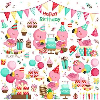 Conjunto de vetores de comemoração de aniversário flamingo