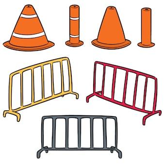 Conjunto de vetores de cone de tráfego e cerca de tráfego