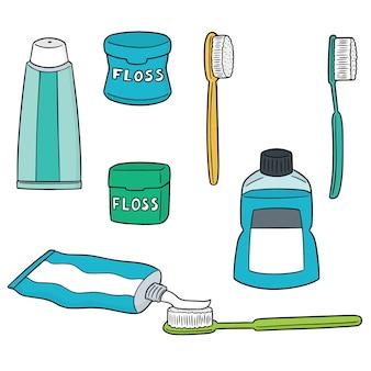 Conjunto de vetores de conjunto de cuidados de dente
