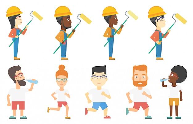 Conjunto de vetores de construtores e personagens de desportistas.